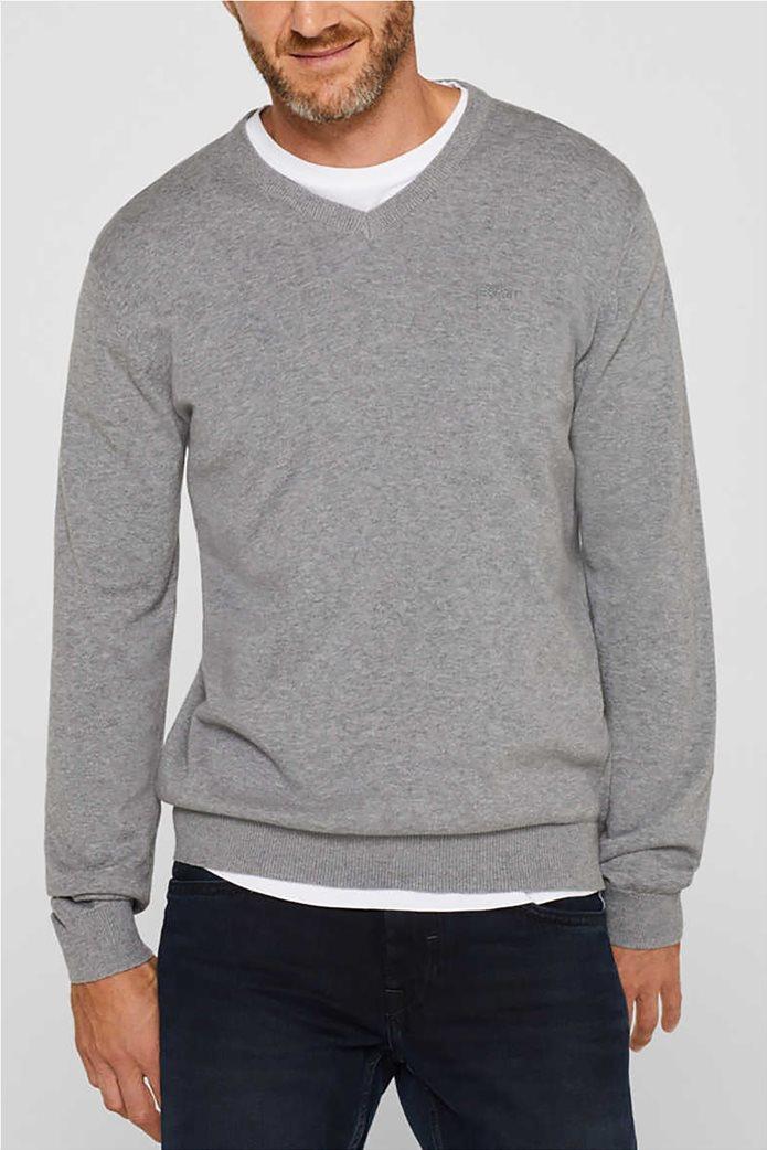 Esprit ανδρική μπλούζα πλεκτή μονόχρωμη 0