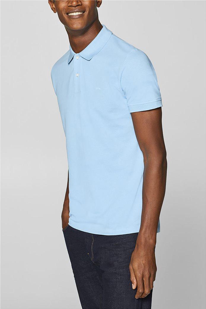 Esprit ανδρική πικέ μπλούζα πόλο μονόχρωμη Slim fit 0