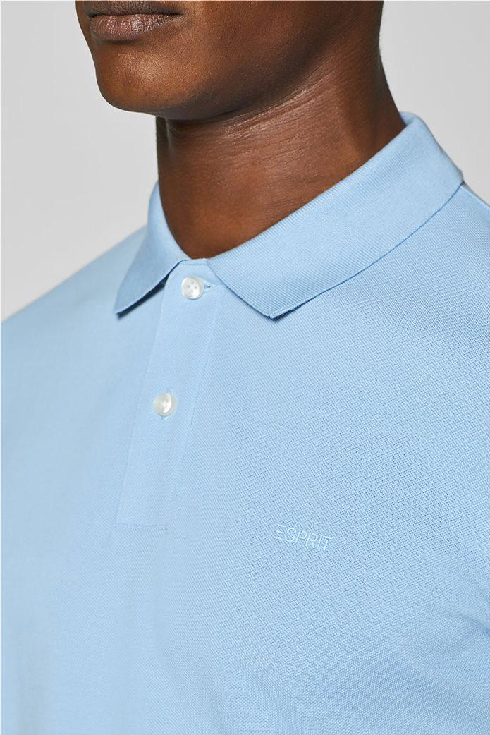 Esprit ανδρική πικέ μπλούζα πόλο μονόχρωμη Slim fit 1