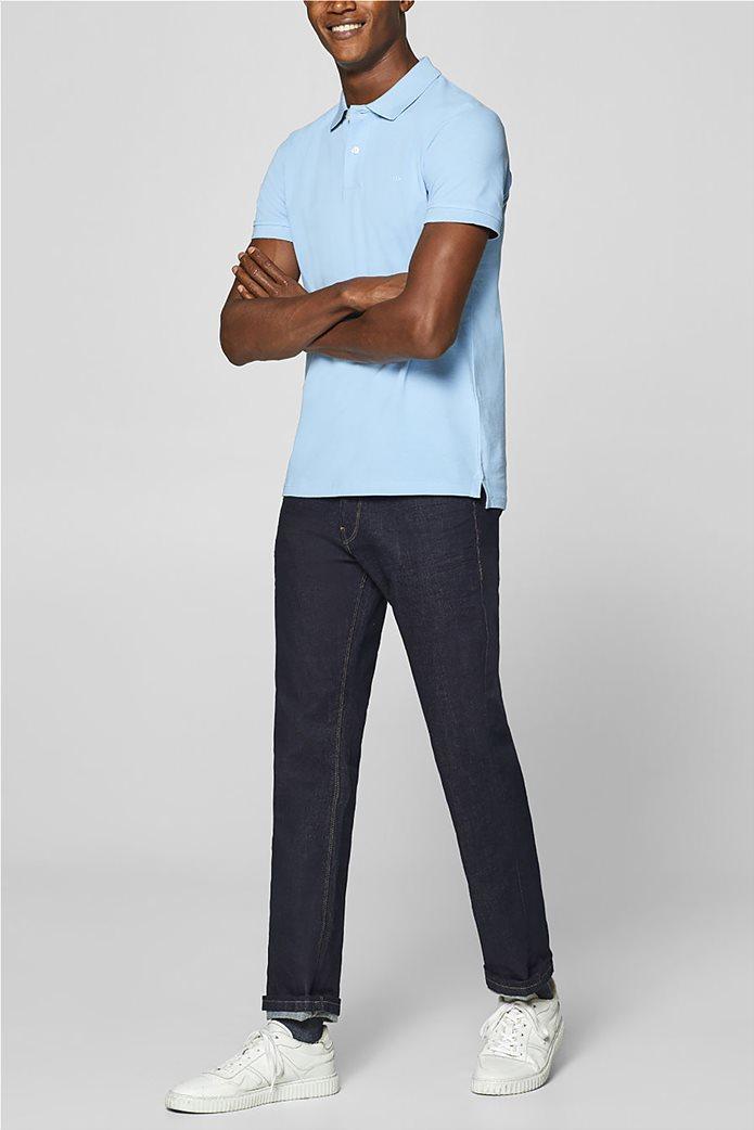 Esprit ανδρική πικέ μπλούζα πόλο μονόχρωμη Slim fit 4