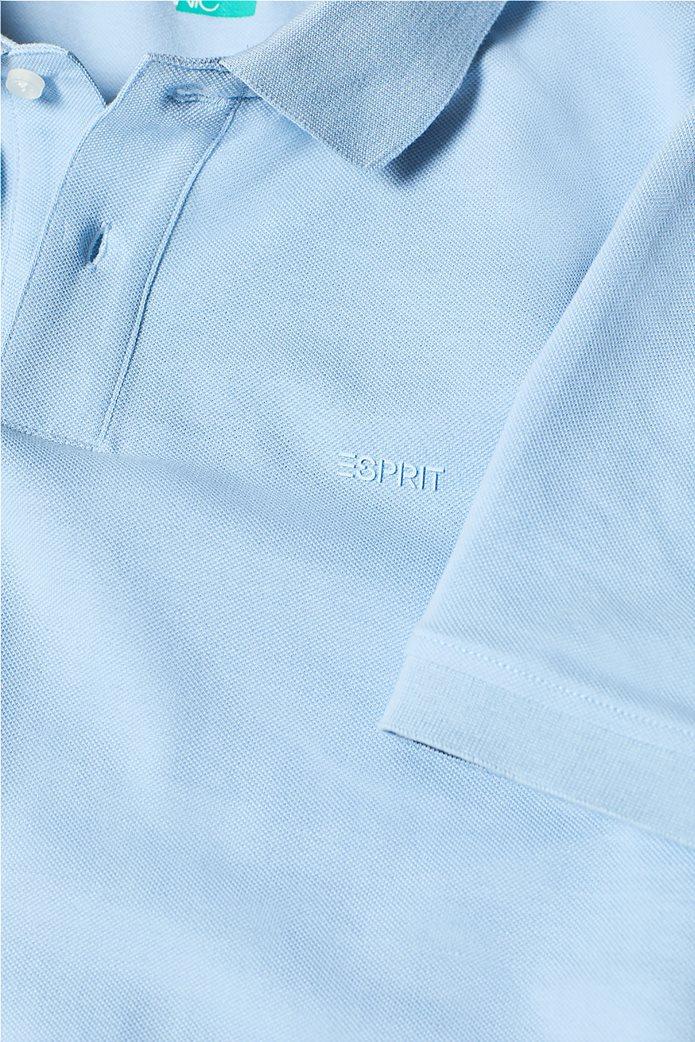 Esprit ανδρική πικέ μπλούζα πόλο μονόχρωμη Slim fit 5