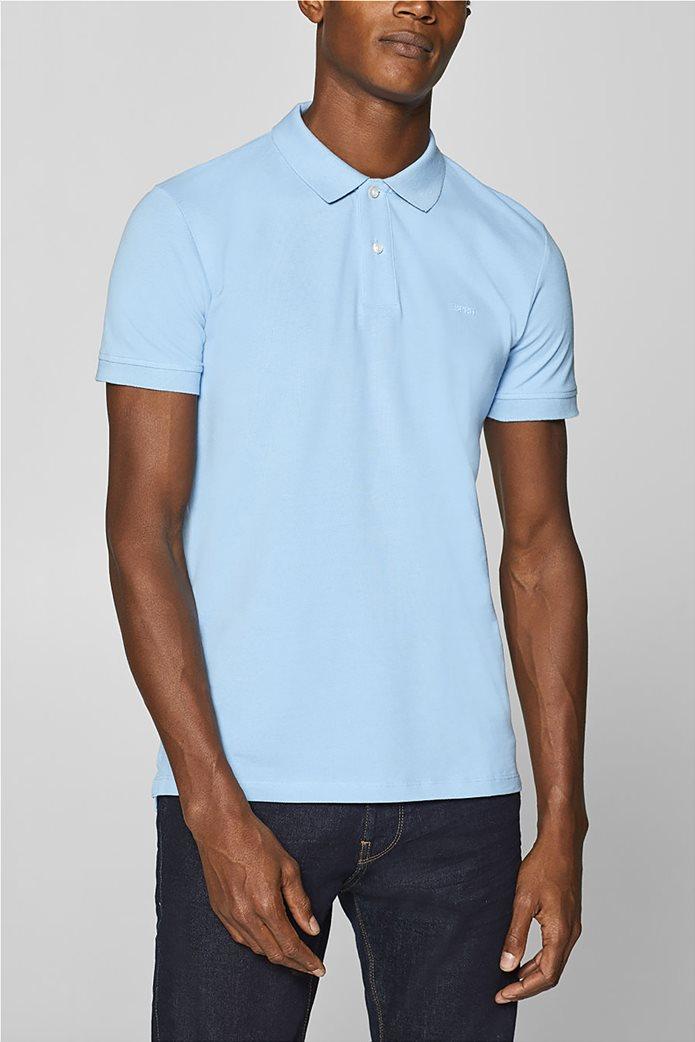 Esprit ανδρική πικέ μπλούζα πόλο μονόχρωμη Slim fit 7