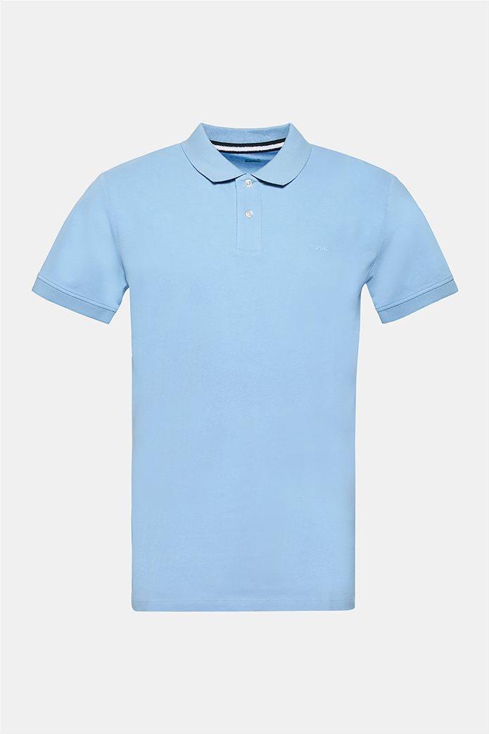 Esprit ανδρική πικέ μπλούζα πόλο μονόχρωμη Slim fit 8