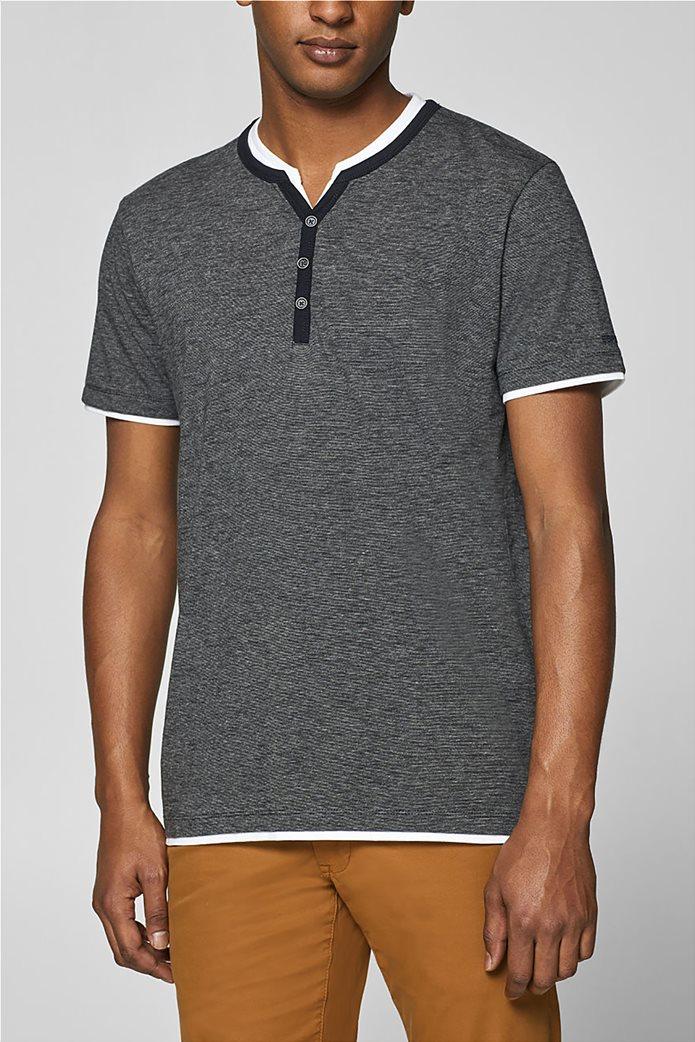 Esprit ανδρική μπλούζα με λεπτή ρίγα και layer 0