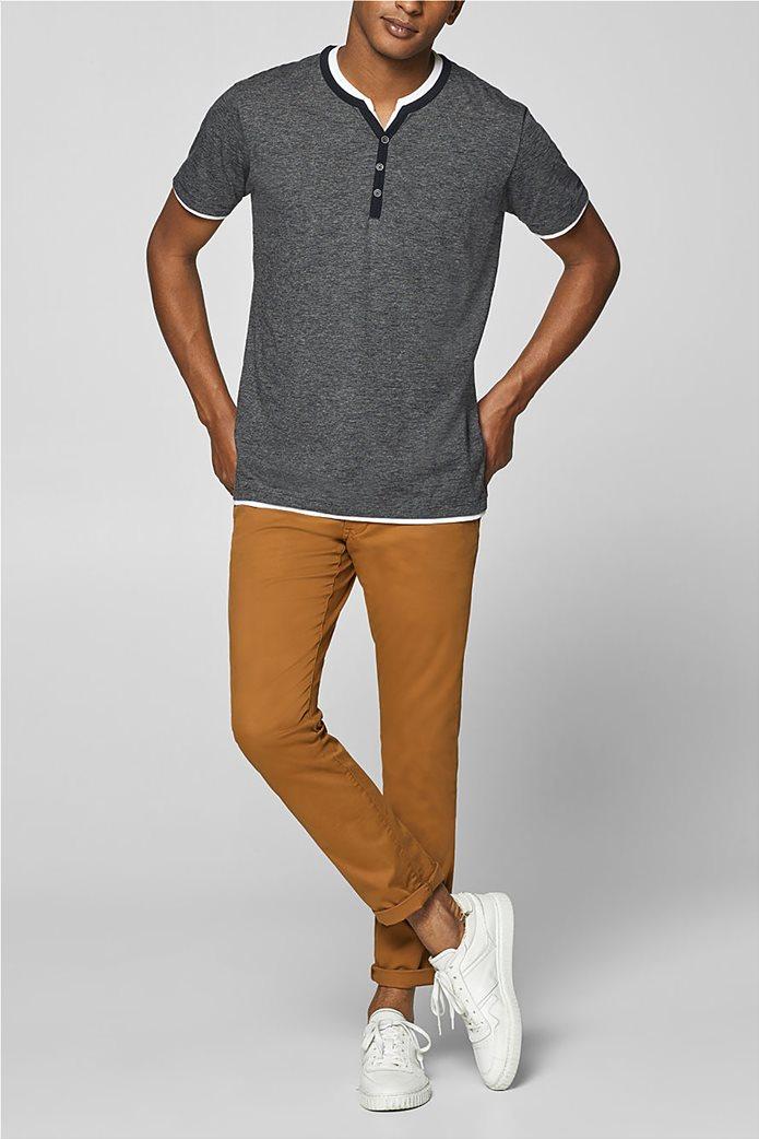 Esprit ανδρική μπλούζα με λεπτή ρίγα και layer 2