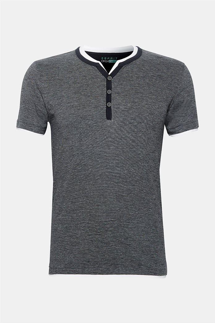 Esprit ανδρική μπλούζα με λεπτή ρίγα και layer 6