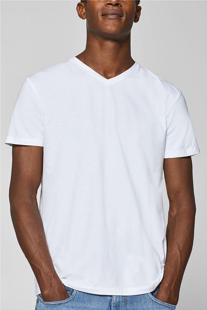 a3656544cf5 ESPRIT | Esprit ανδρικό T-shirt basic με V λαιμόκοψη Λευκό | notos