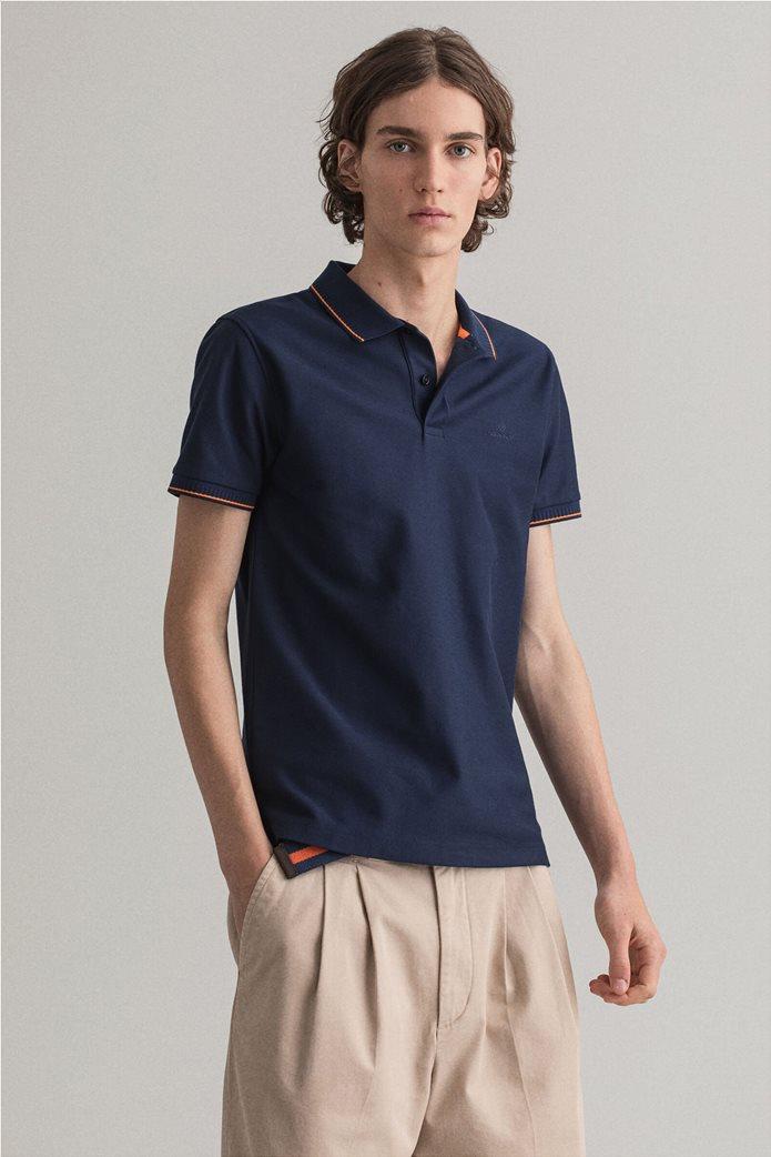 Gant ανδρική πόλο μπλούζα με ριγέ λεπτομέρειες Slim Fit 0