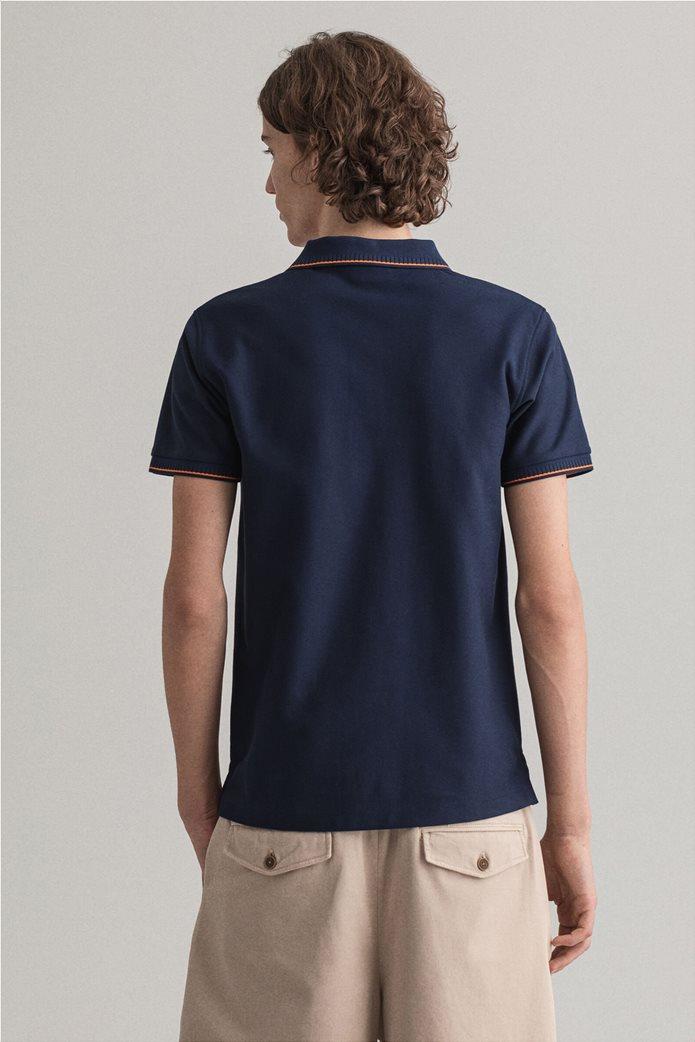 Gant ανδρική πόλο μπλούζα με ριγέ λεπτομέρειες Slim Fit 1