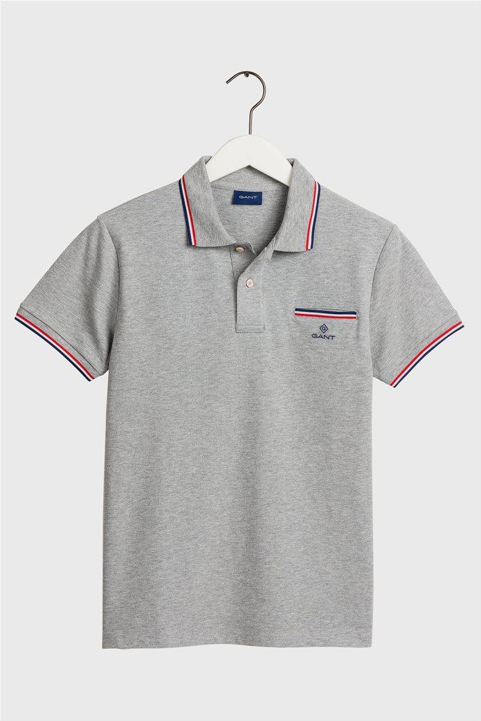 Gant ανδρική πόλο μπλούζα  με τσέπη και ριγέ λεπτομέρεια 0