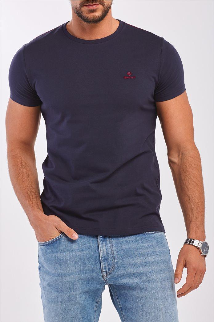 Gant ανδρικό T-shirt μονόχρωμο με κεντημένο logo 0