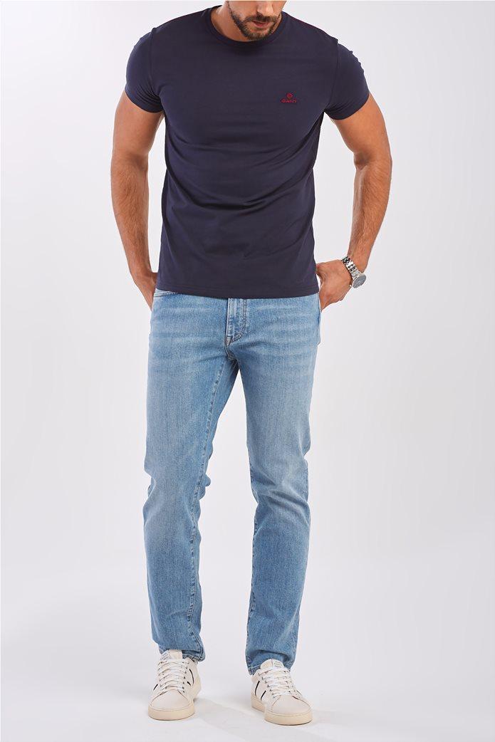 Gant ανδρικό T-shirt μονόχρωμο με κεντημένο logo 1