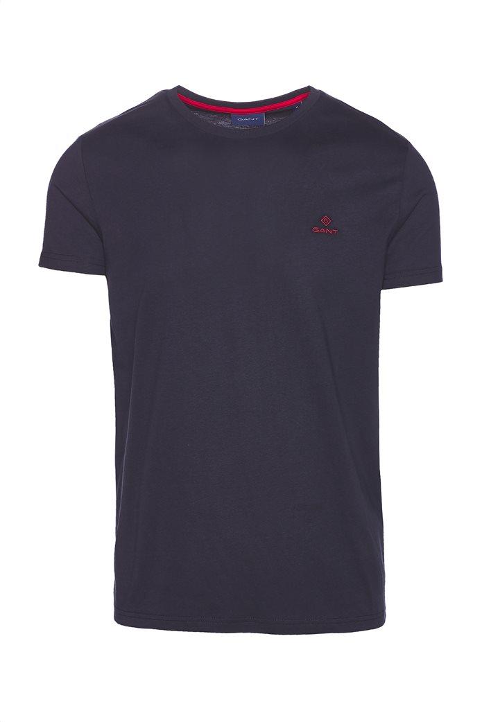 Gant ανδρικό T-shirt μονόχρωμο με κεντημένο logo 3