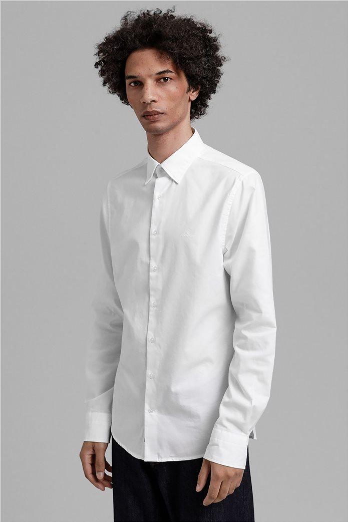 """Gant ανδρικό πουκάμισο μονόχρωμο Slim Fit """"Tech Prep™ Oxford"""" Μπλε Σκούρο 0"""