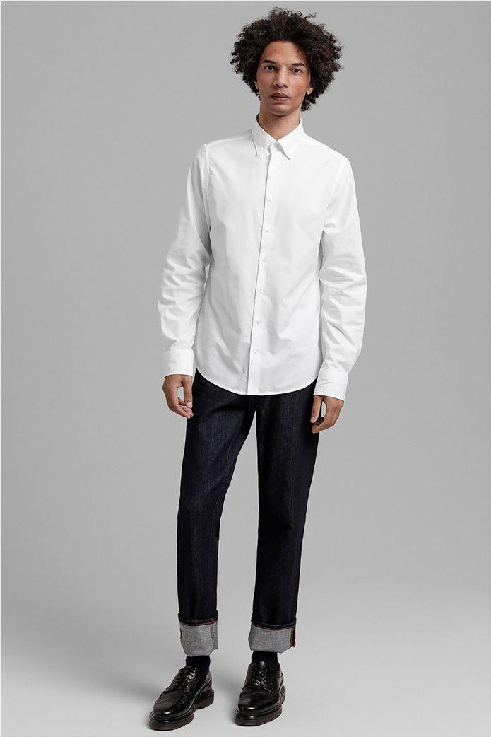 """Gant ανδρικό πουκάμισο μονόχρωμο Slim Fit """"Tech Prep™ Oxford"""" Μπλε Σκούρο 2"""
