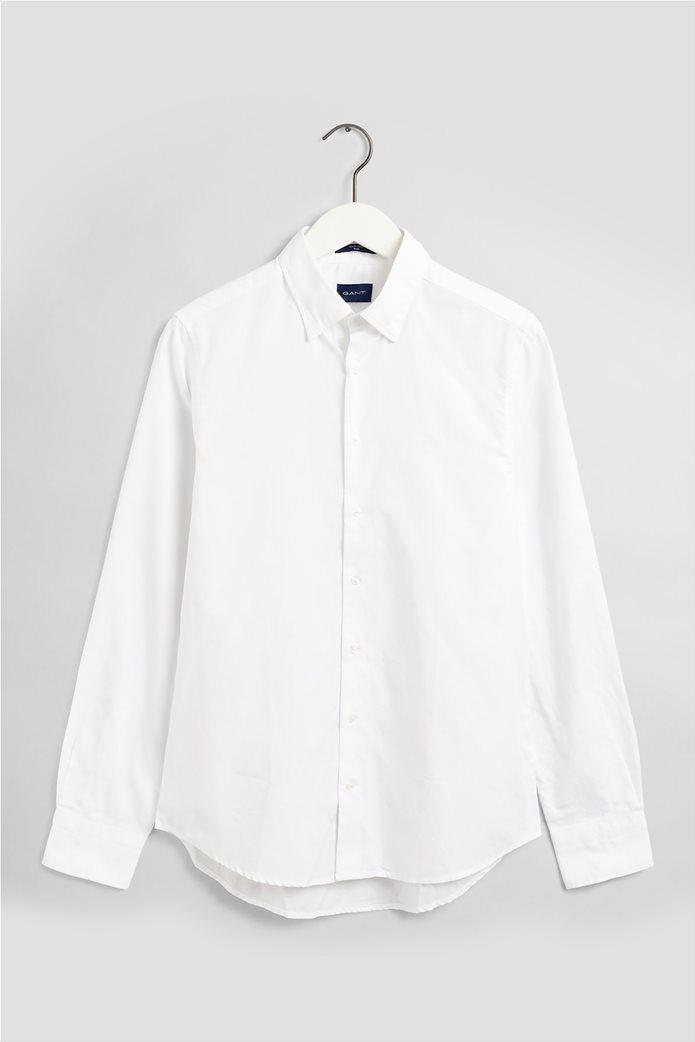 """Gant ανδρικό πουκάμισο μονόχρωμο Slim Fit """"Tech Prep™ Oxford"""" Μπλε Σκούρο 4"""