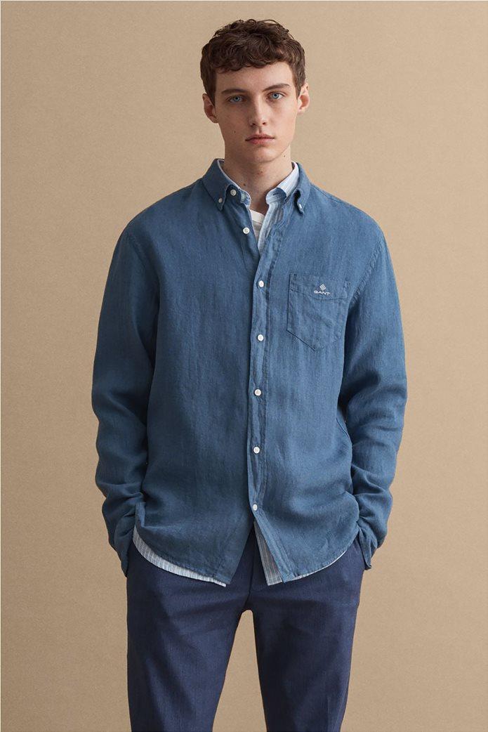 Gant ανδρικό πουκάμισο λινό με απλικέ τσέπη στο στήθος Regular Fit 0