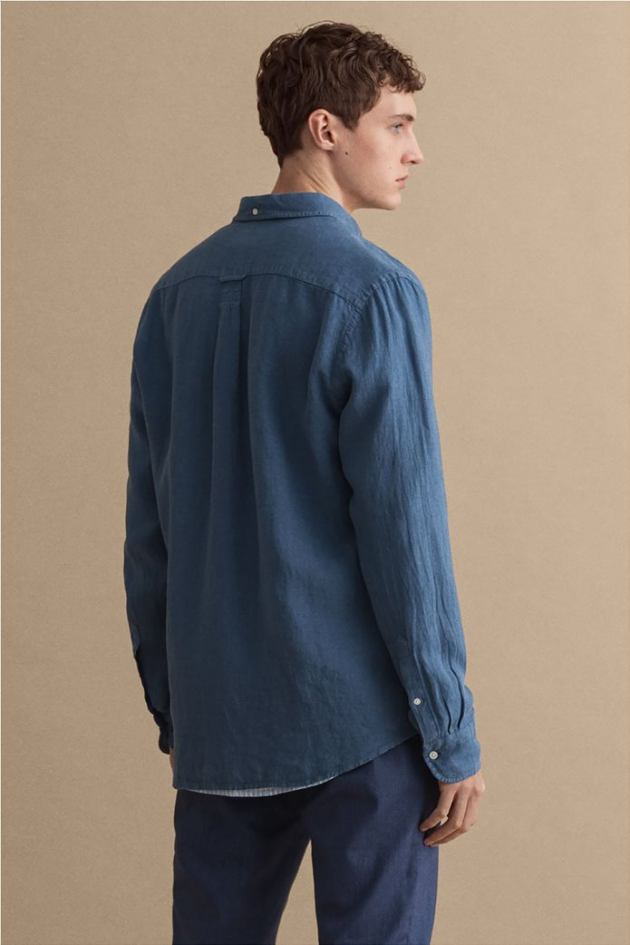 Gant ανδρικό πουκάμισο λινό με απλικέ τσέπη στο στήθος Regular Fit 3