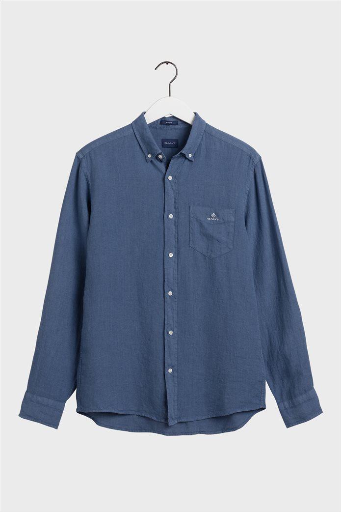 Gant ανδρικό πουκάμισο λινό με απλικέ τσέπη στο στήθος Regular Fit 6