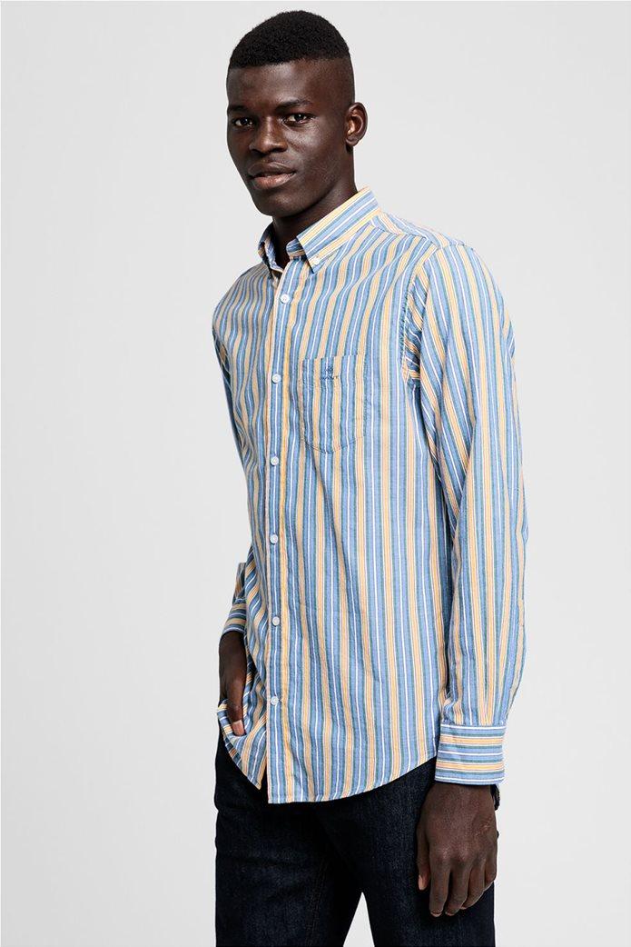 """Gant ανδρικό ριγέ πουκάμισο με κεντημένο logo """"Windblown Oxford """" 0"""