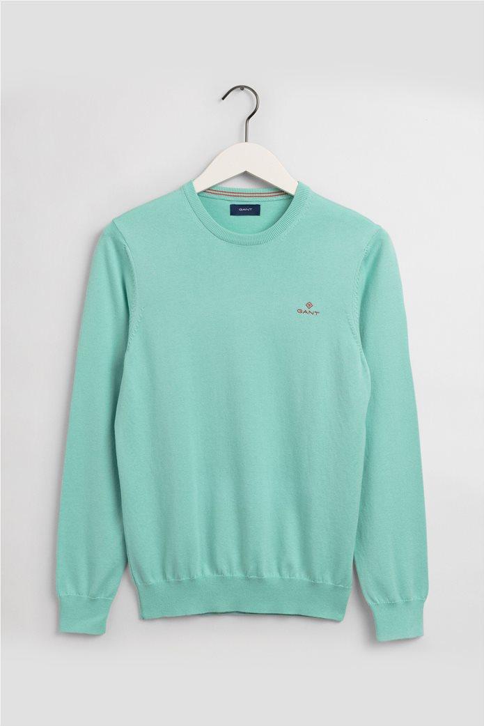 "Gant ανδρική πλεκτή μπλούζα μονόχρωμη με κεντημένο logo ""Contrast"" 0"