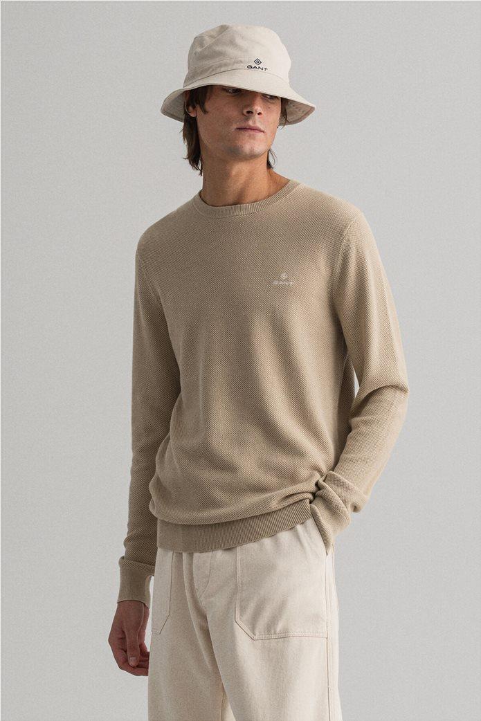 "Gant ανδρικό πικέ πουλόβερ μονόχρωμο ""Crew"" 2"