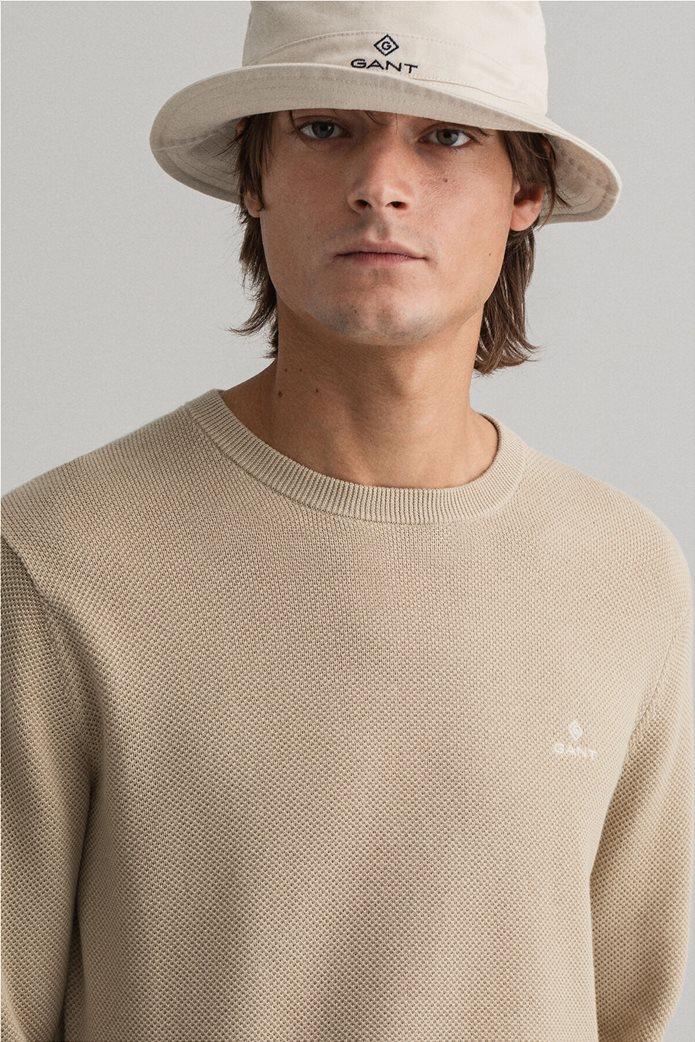 "Gant ανδρικό πικέ πουλόβερ μονόχρωμο ""Crew"" 3"