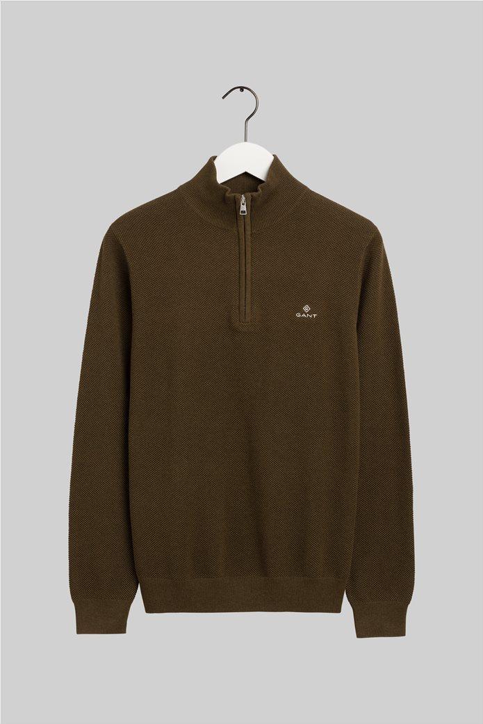 "Gant ανδρικό πικέ πουλόβερ με φερμουάρ 1/2 ""Troyer"" 0"