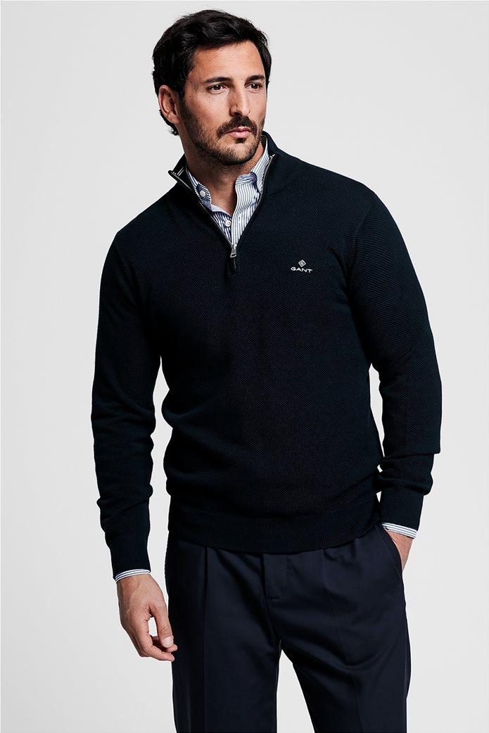 "Gant ανδρικό πικέ πουλόβερ με φερμουάρ 1/2 ""Troyer"" Μπλε Σκούρο 0"