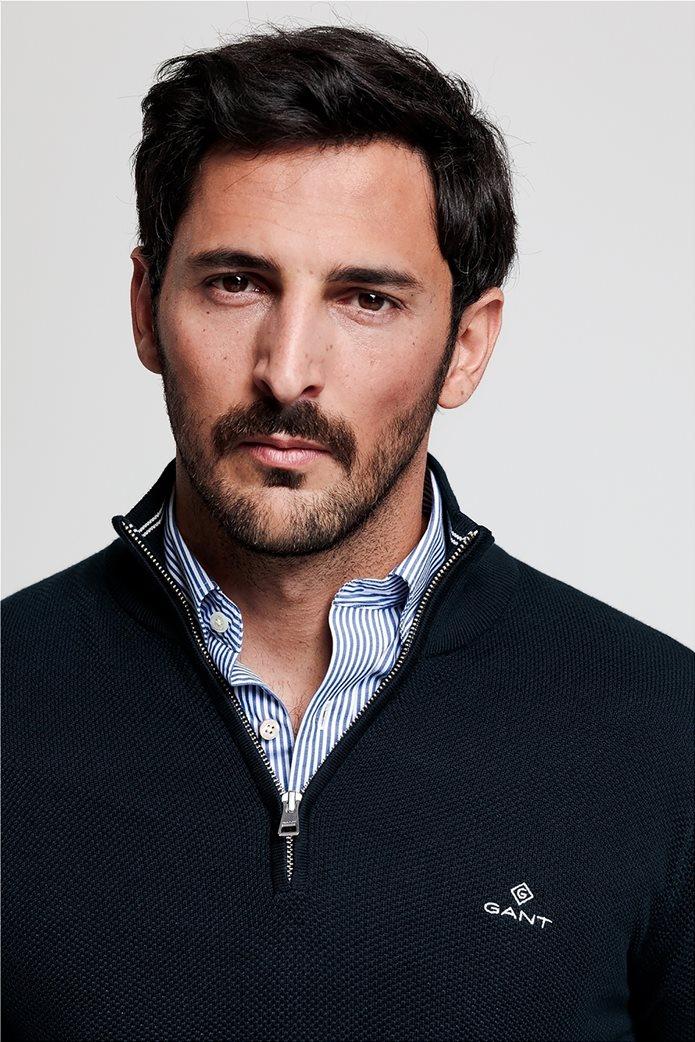"Gant ανδρικό πικέ πουλόβερ με φερμουάρ 1/2 ""Troyer"" Μπλε Σκούρο 1"