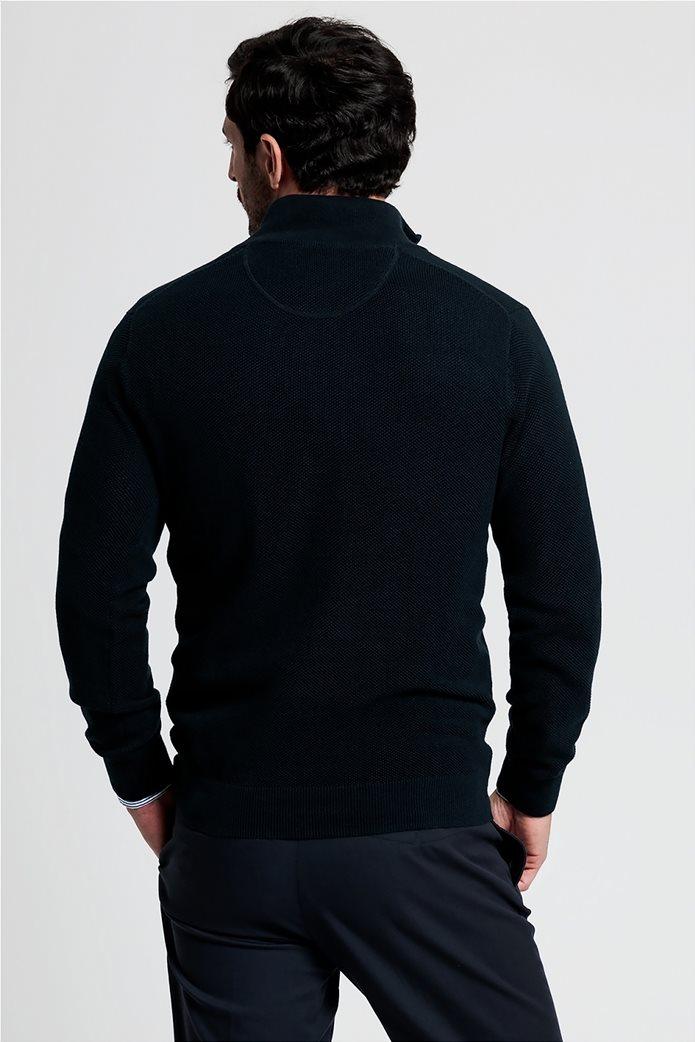 "Gant ανδρικό πικέ πουλόβερ με φερμουάρ 1/2 ""Troyer"" Μπλε Σκούρο 2"