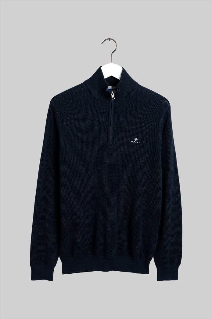 "Gant ανδρικό πικέ πουλόβερ με φερμουάρ 1/2 ""Troyer"" Μπλε Σκούρο 3"