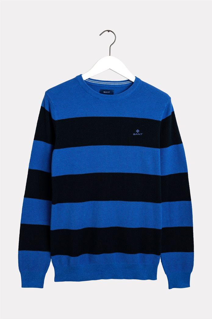 Gant ανδρικό πικέ πουλόβερ με ρίγες 0