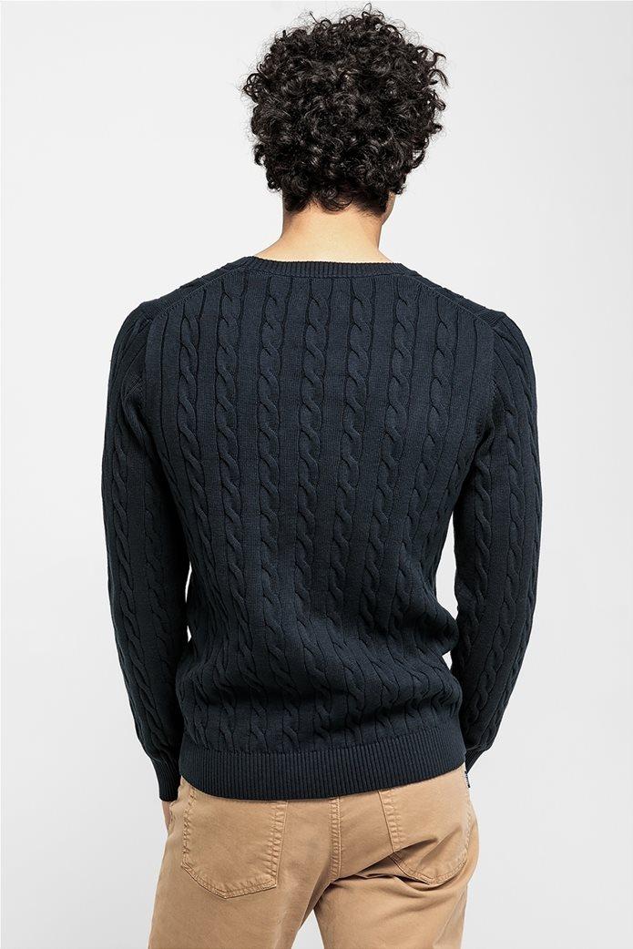 """Gant ανδρικόπουλόβερ μονόχρωμο """"Cable Knit"""" Μπλε Σκούρο 1"""