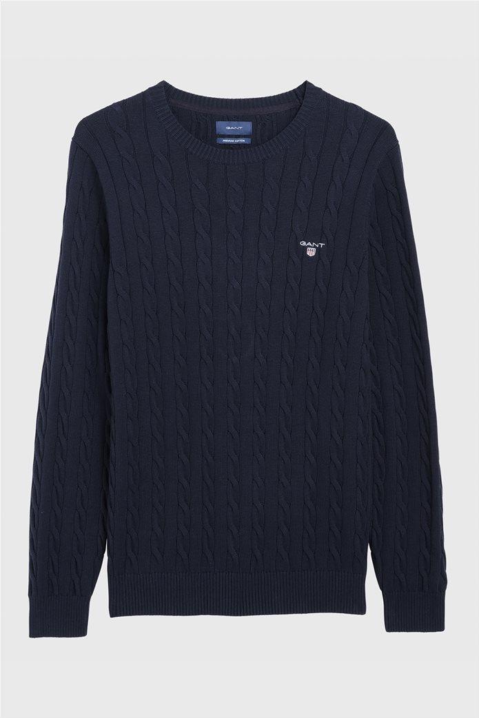 """Gant ανδρικόπουλόβερ μονόχρωμο """"Cable Knit"""" Μπλε Σκούρο 2"""