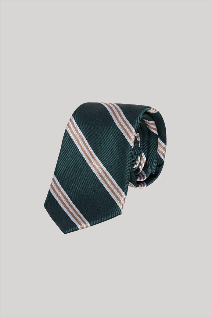 Gant ανδρική μεταξωτή γραβάτα με ρίγες Κυπαρισσί 0