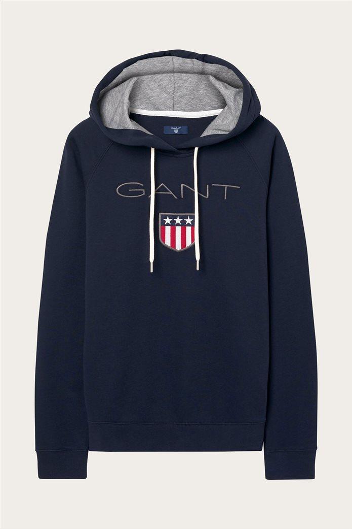 "Gant γυναικείο φούτερ με λογότυπο ""Shield College Hoodie"" Μπλε Σκούρο 0"