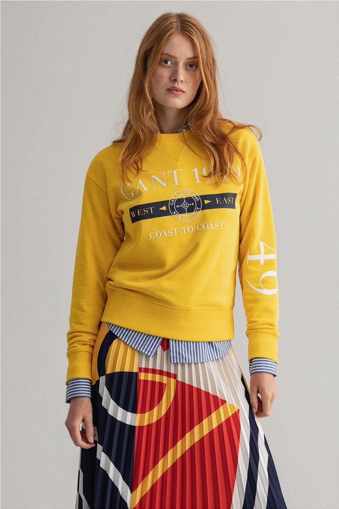 "Gant γυναικεία μπλούζα φούτερ με logo print ""Nautical"" 0"