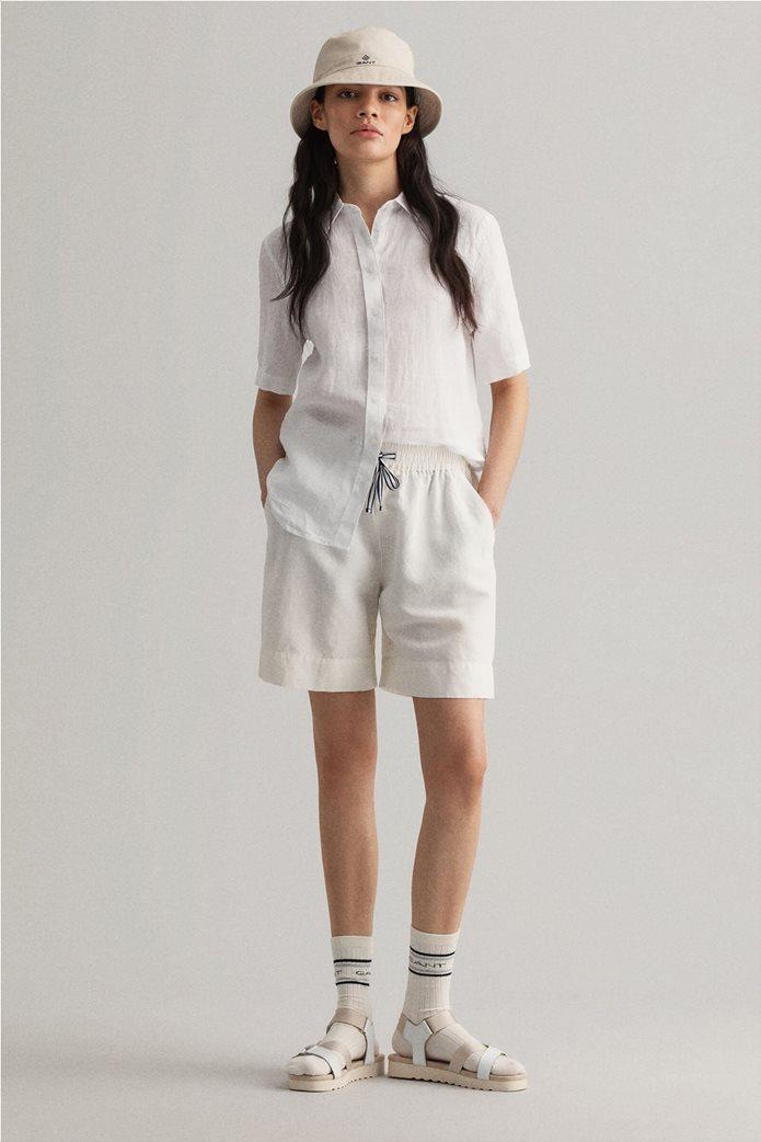"Gant γυναικείο λινό πουκάμισο μονόχρωμο ""Chambray"" 4"