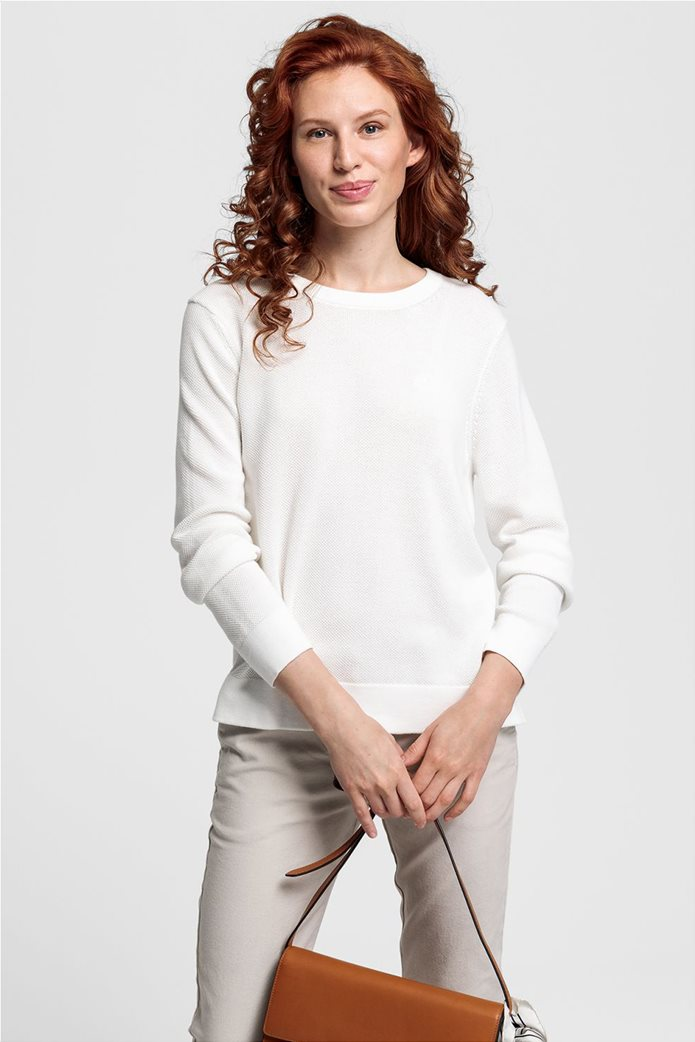 Gant γυναικεία πικέ μπλούζα μονόχρωμη Εκρού 0