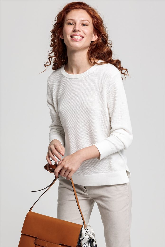 Gant γυναικεία πικέ μπλούζα μονόχρωμη Εκρού 2