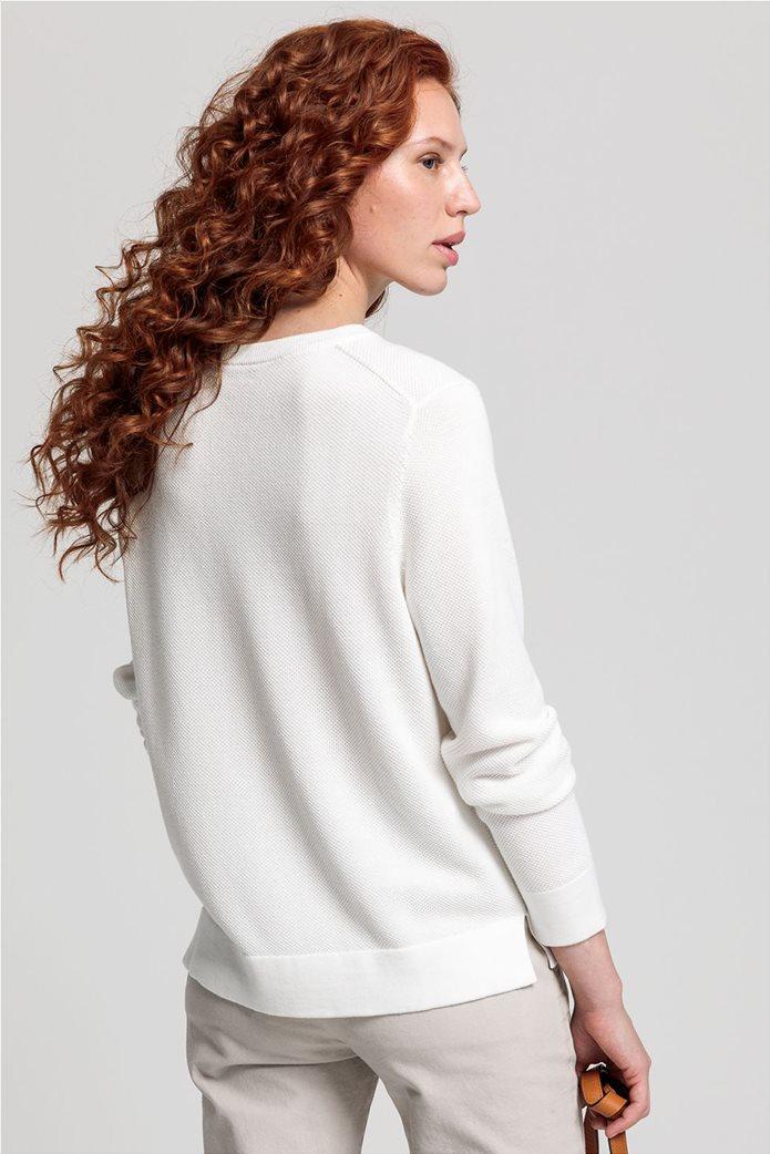 Gant γυναικεία πικέ μπλούζα μονόχρωμη Εκρού 3