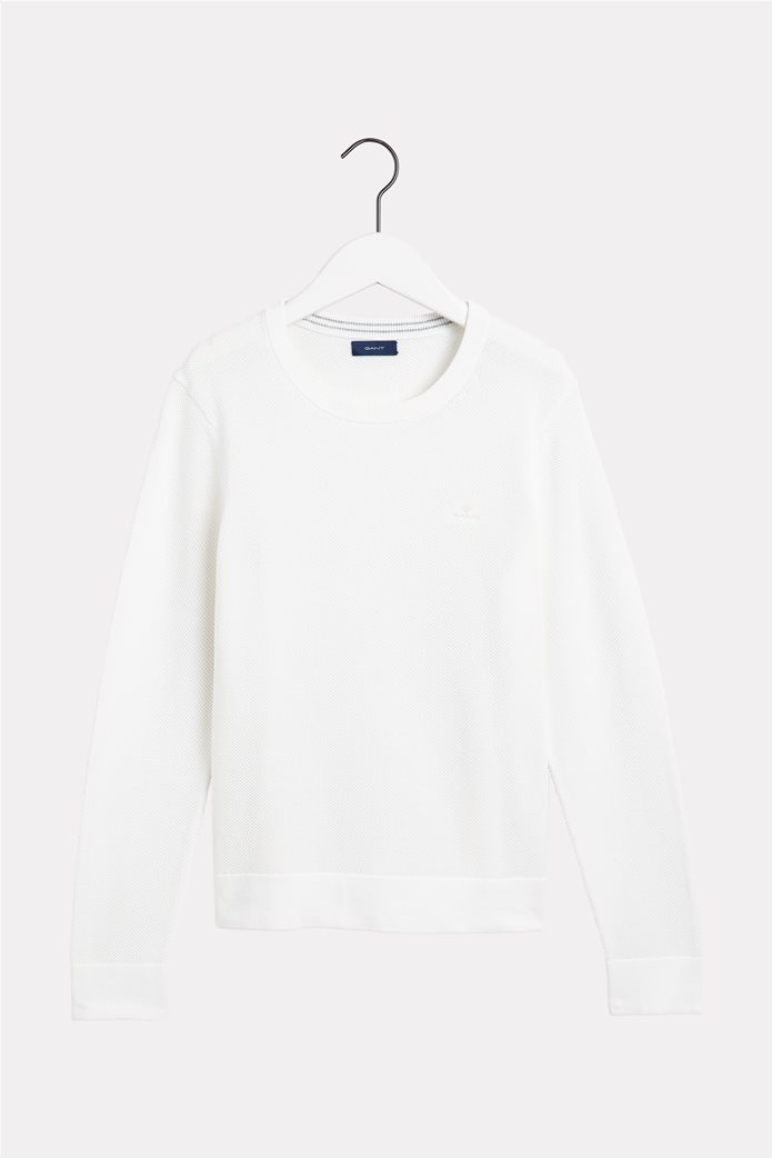 Gant γυναικεία πικέ μπλούζα μονόχρωμη Εκρού 4