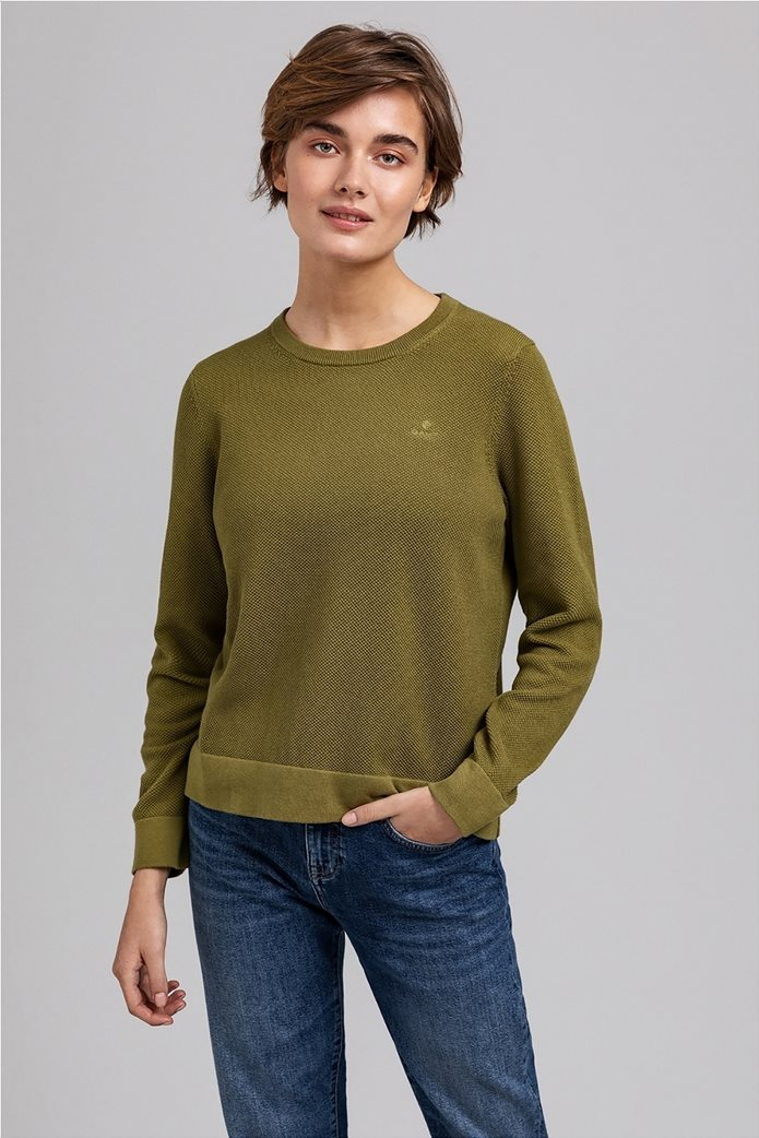 Gant γυναικεία πικέ μπλούζα μονόχρωμη 0