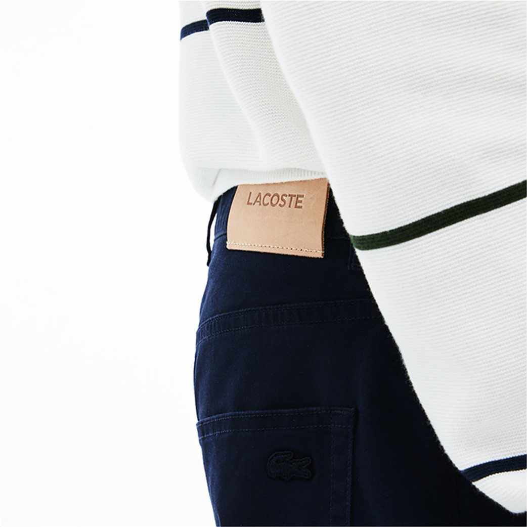 Lacoste ανδρικό παντελόνι πεντάτσεπο Slim fit Μπλε Σκούρο 2