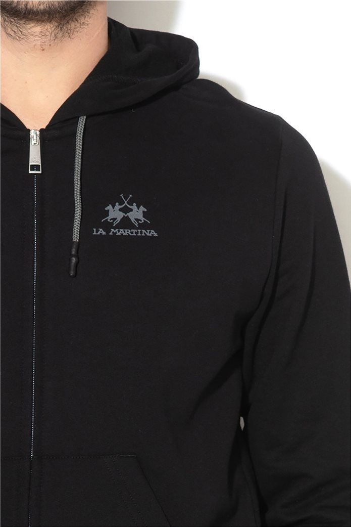 La Martina ανδρική φούτερ ζακέτα με  λογότυπο και κουκούλα Μαύρο 2