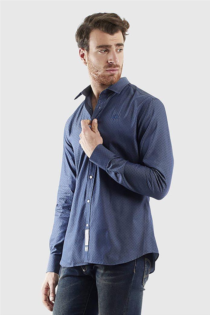 """La Martina ανδρικό πουκάμισο με μικροσχέδιο """"Quaron"""" Μπλε Σκούρο 0"""