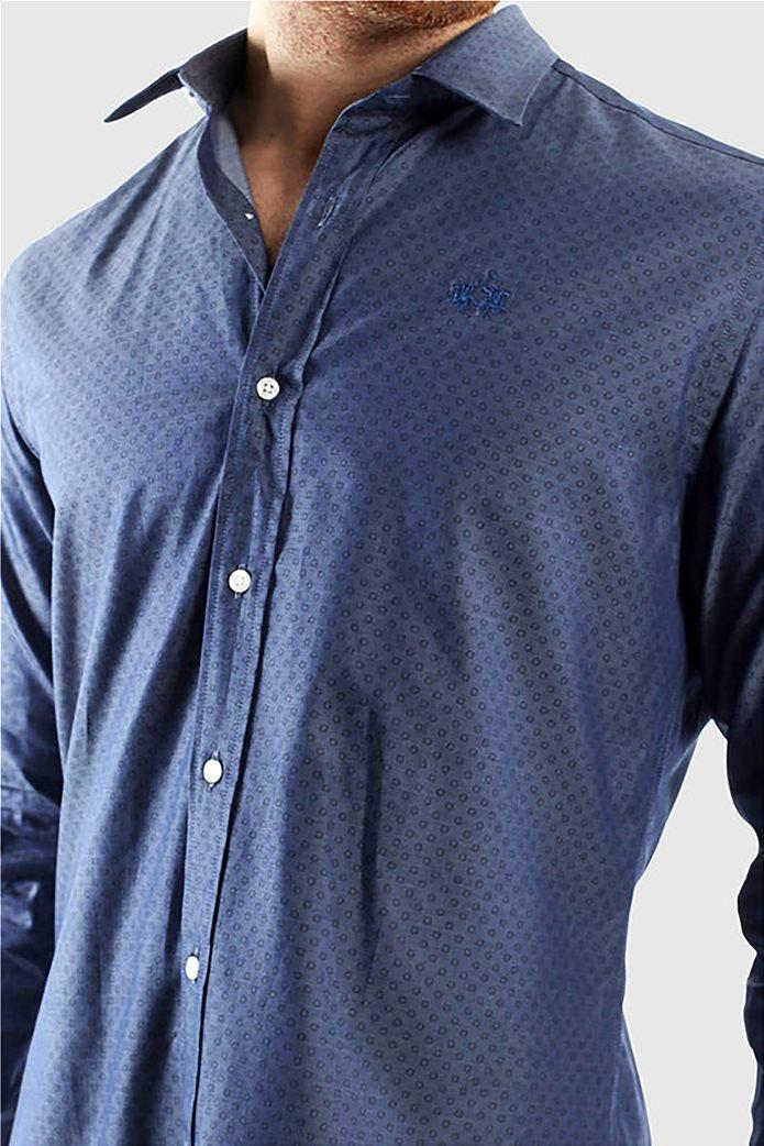 """La Martina ανδρικό πουκάμισο με μικροσχέδιο """"Quaron"""" Μπλε Σκούρο 1"""