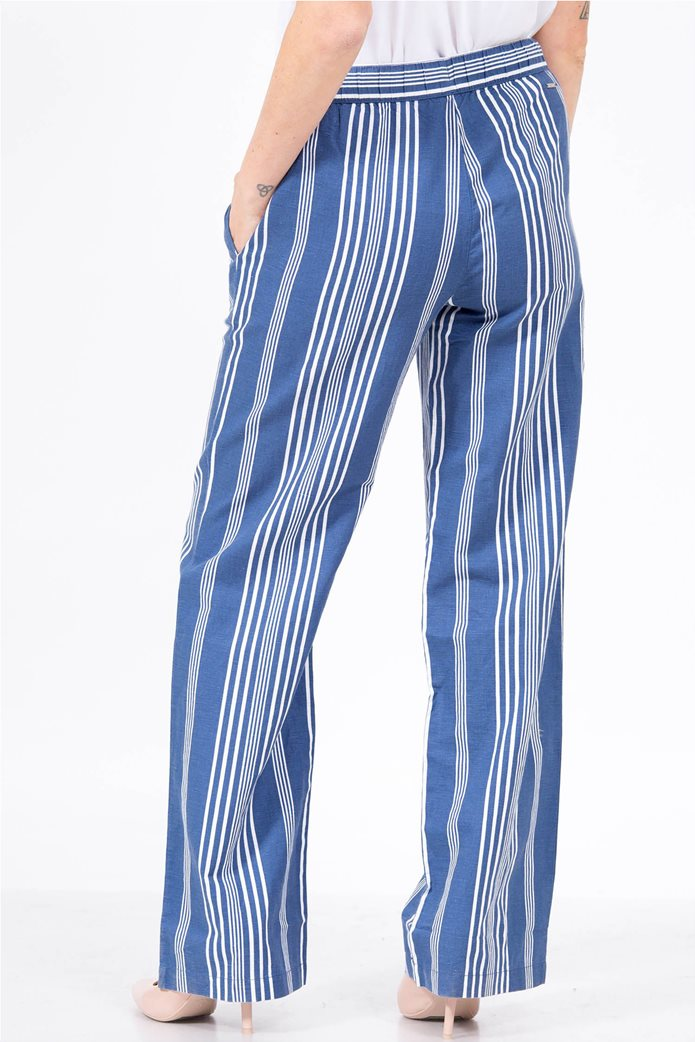 Nautica γυναικείο λινό παντελόνι ριγέ Μπλε 2