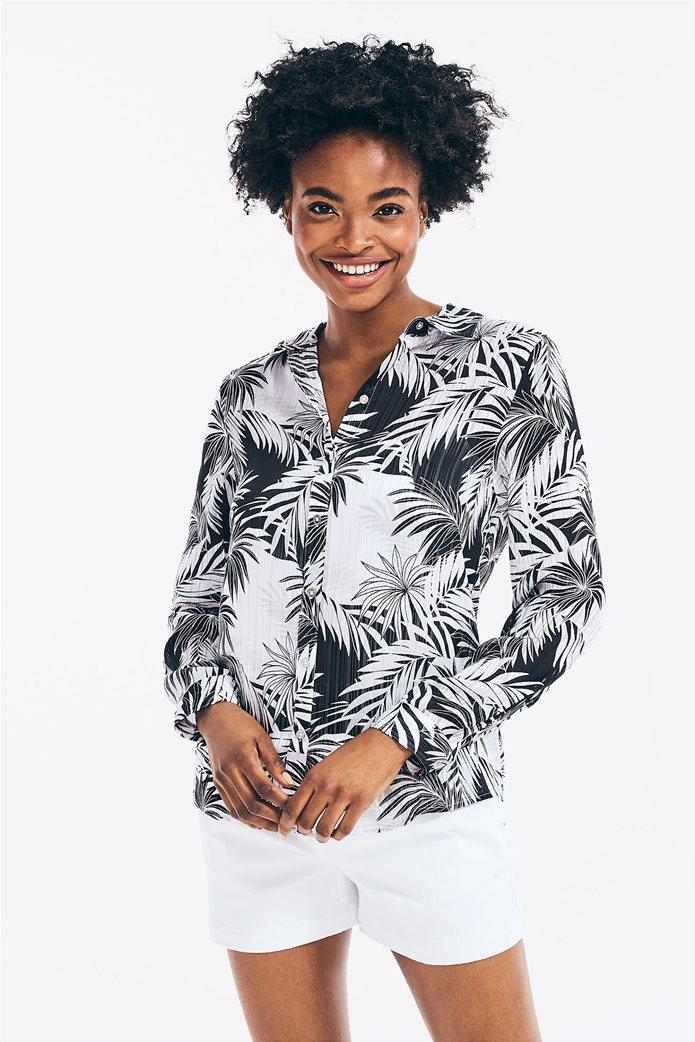 Nautica γυναικείο πουκάμισο σατινέ με all-over palm print 0